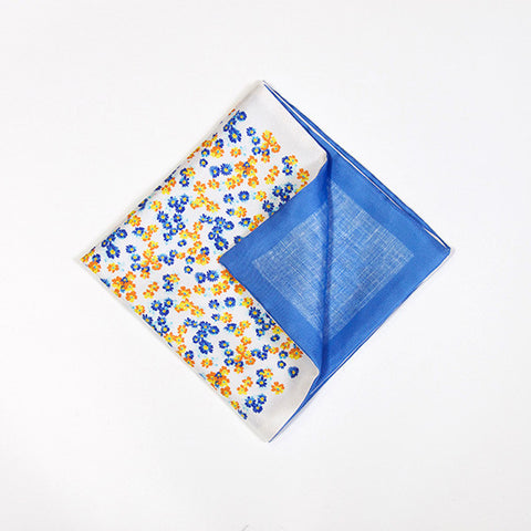 Yellow and Sapphire Floral Silk Handkerchief