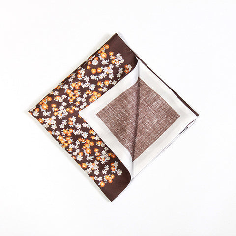 Chocolate and Orange Floral Silk Handkerchief