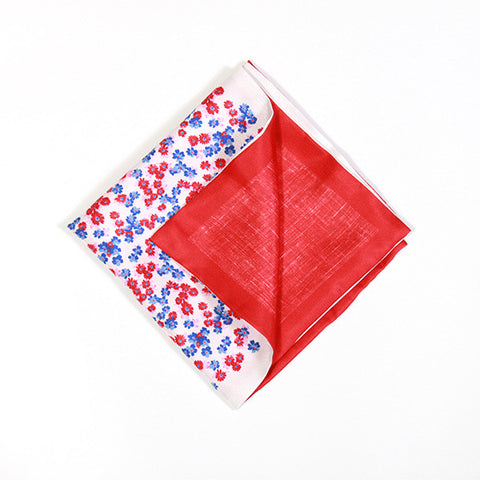 Scarlet and Sapphire Floral Silk Handkerchief