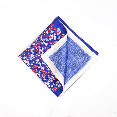 Sapphire and White Floral Silk Handkerchief