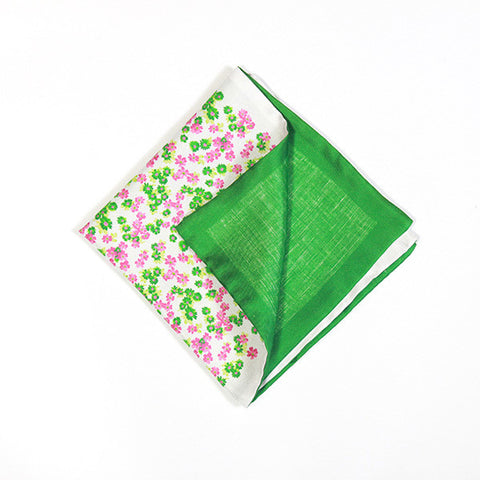 Green and Pink Floral Silk Handkerchief