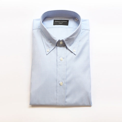 Light Blue Poplin Shirt with Button Down Collar & Single Cuff