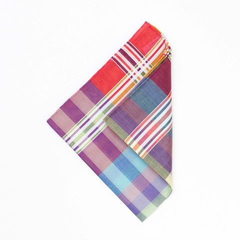 Madras Check Cotton Handkerchief with Hand Rolled Edge