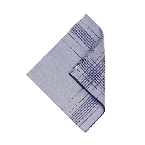 Marine/Blue Cotton Handkerchief with Hand Rolled Edge