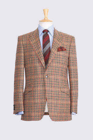 Multicoloured Hounds Tooth Check on Beige Ground Lambswool