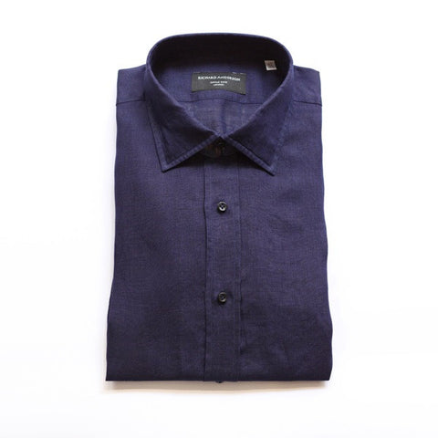 Navy Linen Shirt with Single Cuff