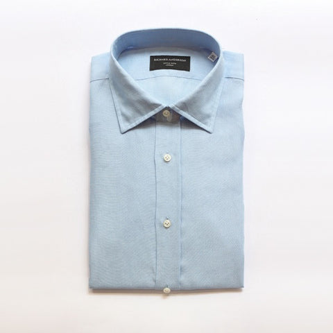 Pacific Blue Linen Shirt with Single Cuff