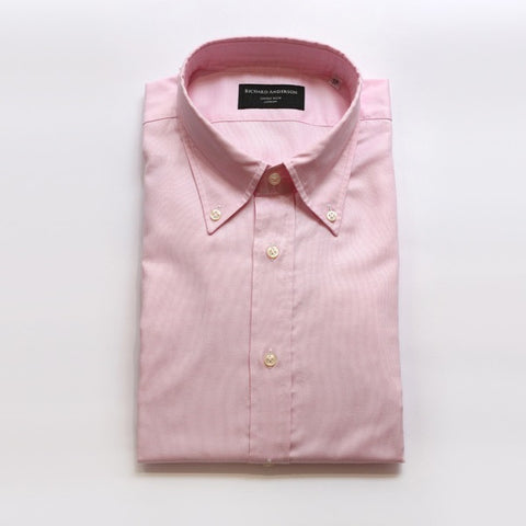 Pink Poplin Shirt with Button Down Collar & Single Cuff