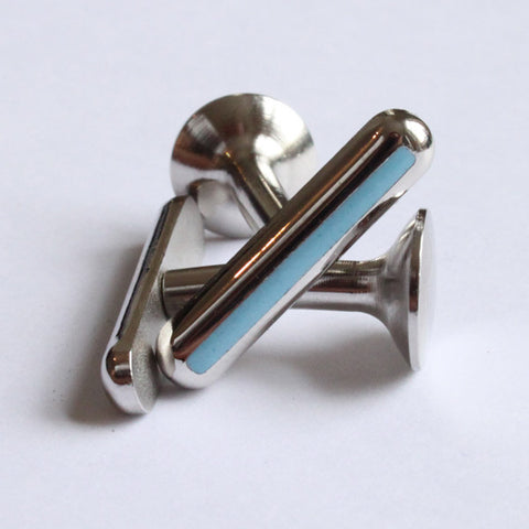 Cufflink Bar / Bullet Light Blue