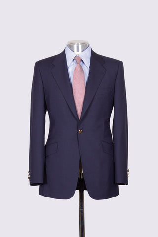 Navy Wool Single Breasted Blazer