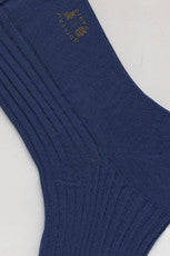 Long Pure Cotton Sock By Boileau France Sapphire