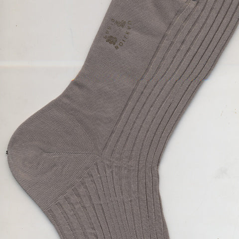 Long Pure Cotton Sock By Boileau France Mid Grey