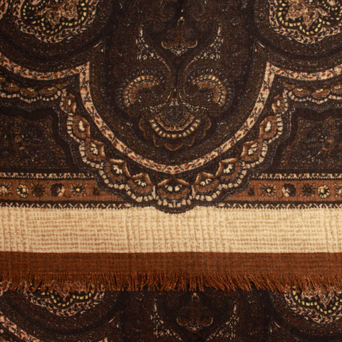 Chestnut Fancy Print Wool Scarf