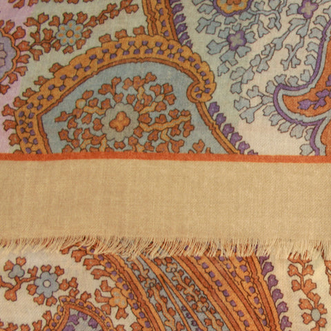 Camel Wool Scarf With Blue Paisley Print