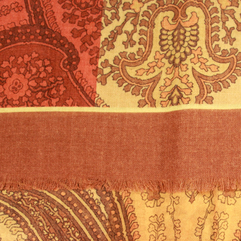 Camel Wool Scarf with Amber Paisley Print