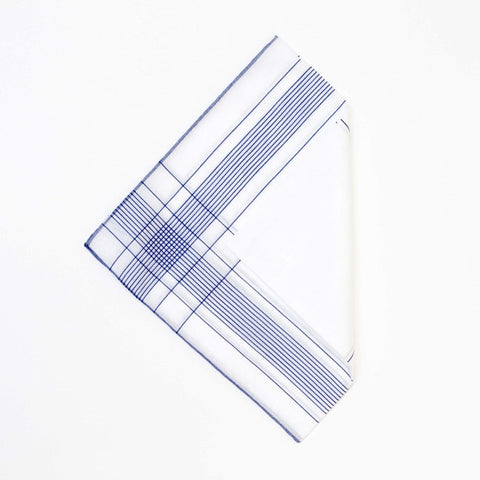 White/Blue Cotton Handkerchief with Hand Rolled Edge