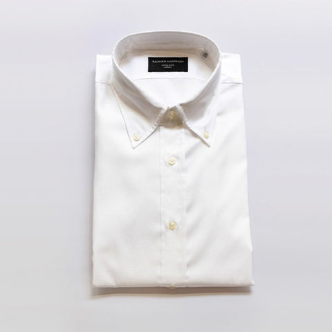 White Poplin Shirt with Button Down Collar & Single Cuff