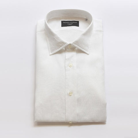 White Linen Shirt with Single Cuff