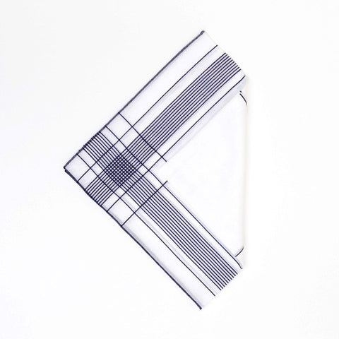 White/Navy Cotton Handkerchief with Hand Rolled Edge