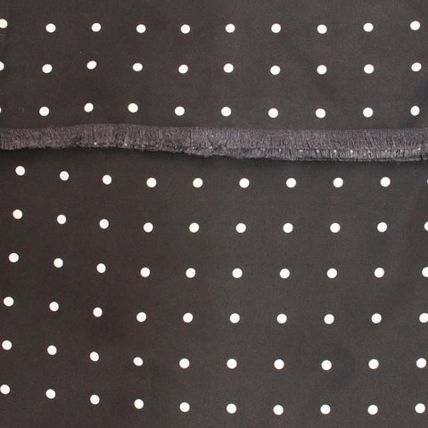 Black Silk Scarf with White Polka Dot