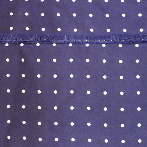 navy silk scarf with white polka dot