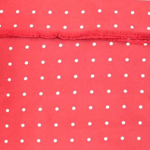 Scarlet silk scarf with white polka dot