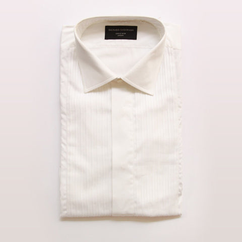 White poplin pleated front dress shirt
