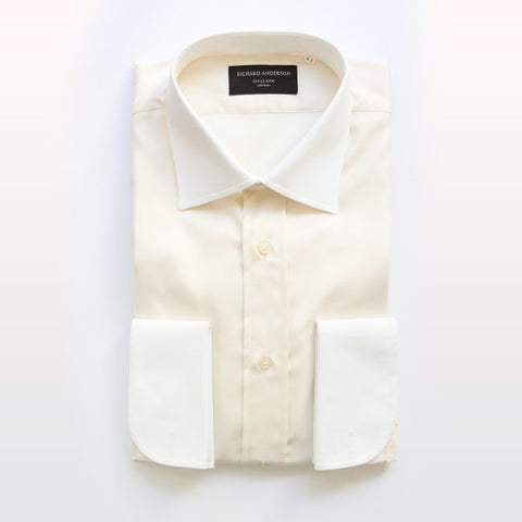 cream herringbone with white collar and double cuff poplin shirt