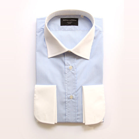 blue stripe with white collar and double cuff poplin shirt