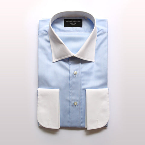 blue herringbone with white collar and cuff poplin shirt