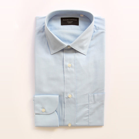 light blue cotton with breast pocket and single cuff shirt