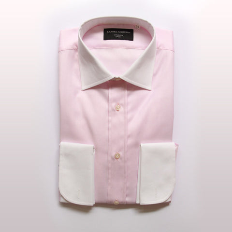 Pink herringbone with white collar and double cuff poplin shirt