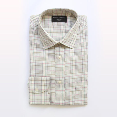 green and pink check cotton single cuff shirt