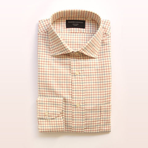 red tattersall check single cuff cotton shirt