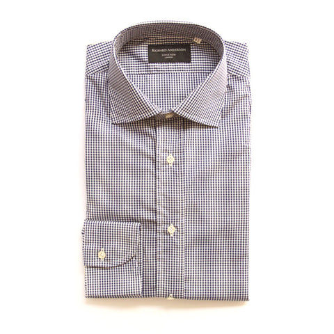 black dice check with single cuff poplin shirt
