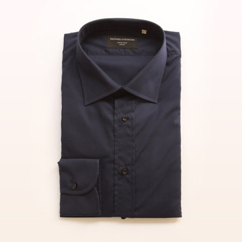plain navy with single cuff poplin shirt