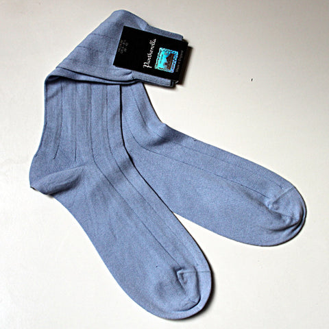 Sea Island Cotton Sock Mid Calf Powder Blue