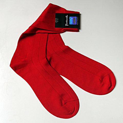 Sea Island Cotton Sock Mid Calf Scarlet