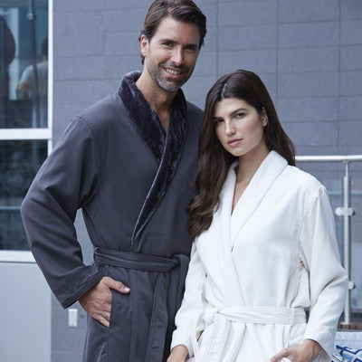 Microfiber Shimmer Lined Unisex Spa Robe - My Leisure Lounge