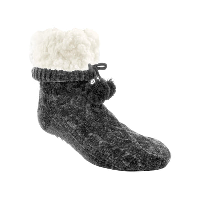 Cable Knit Chenille Slipper Socks - My Leisure Lounge
