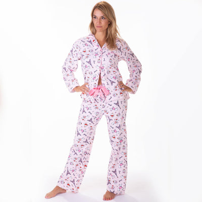 Ladies flannel pj sets - Paris Dogs - My Leisure Lounge