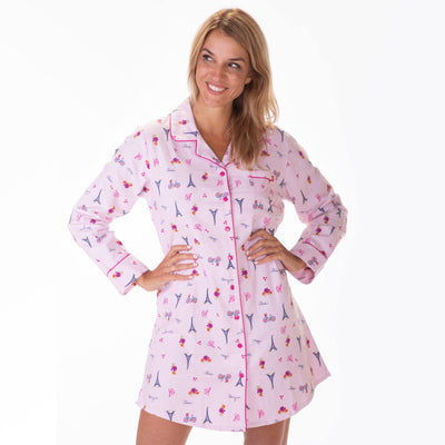 Ladies Flannel Nightshirts - Paris - My Leisure Lounge