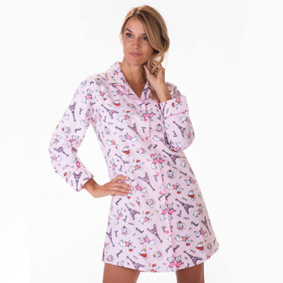 Ladies Flannel Nightshirts - Paris Dogs - My Leisure Lounge