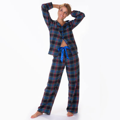 Ladies flannel pj sets - Black Plaid - My Leisure Lounge