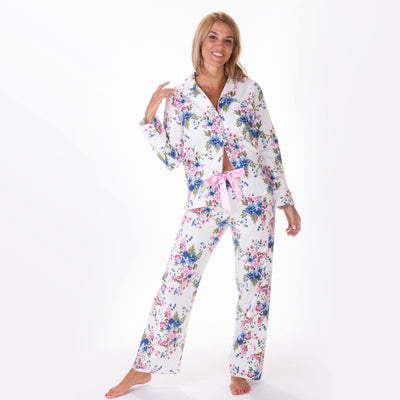 Ladies flannel pj sets - Floral Bouquet - My Leisure Lounge