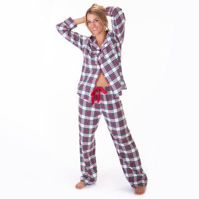 Ladies flannel pj sets - White & Red Plaid - My Leisure Lounge
