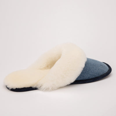 LSW103 - Denim Slip Ons with Natural White Sheepskin - My Leisure Lounge