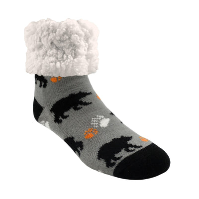 Bear Print Classic Slipper Socks with Sherpa - My Leisure Lounge