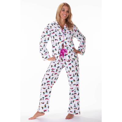 Ladies flannel pj sets - Yoga Dogs - My Leisure Lounge