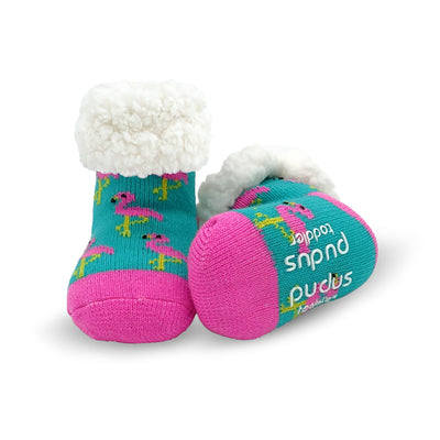 Toddler Slipper Socks with Pink Flamingo Print - My Leisure Lounge
